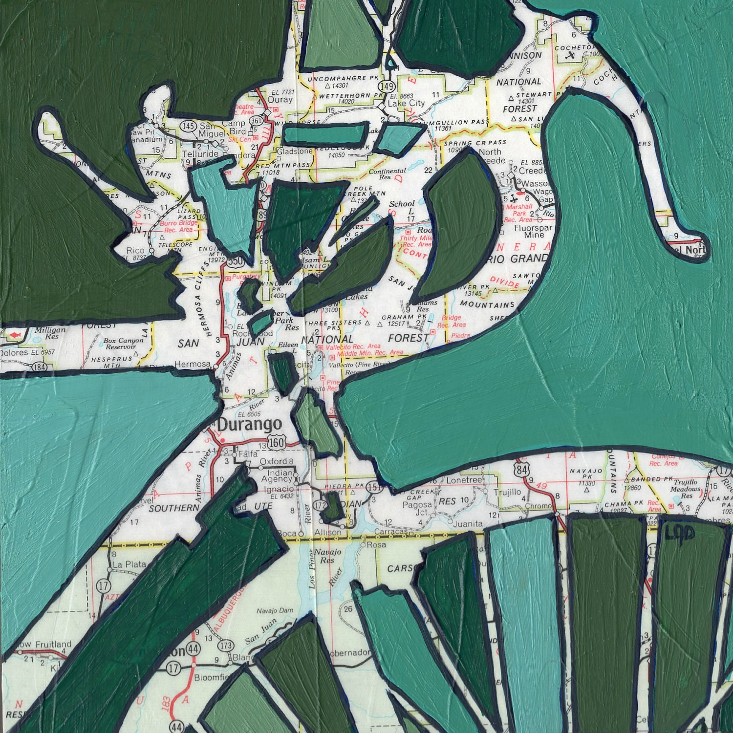 Bike Durango Colorado-bicycle art print of map by OffTheMapArt