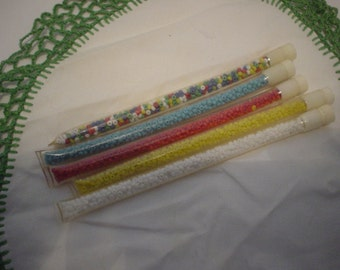 5 Vintage Plastic Tubes of Seed Beads for Jewelry, Sewing, Embellishment