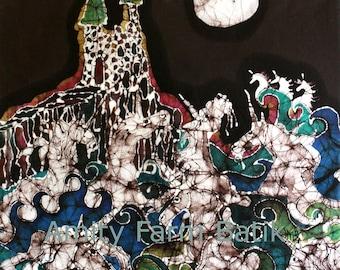 Unicorns Rise from the Sea to the Moon  -  batik original painting - The Last Unicorn