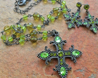 Vintage Green Rhinestone Cross Necklace and Earring Set