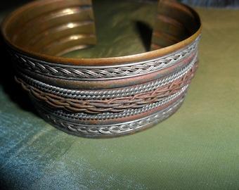 Wire Cuff Braided Brass Vintage Bracelet