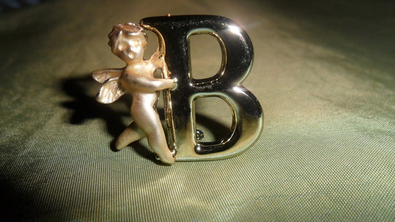 Angel Goldtone Angel Initial B Vintage Brooch