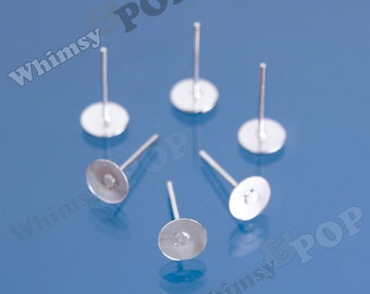 Earring Post Blanks and Findings with Rubber Stoppers (25 to 250 pairs), Earring Blanks, 6mm Glue Pad (R5-020,C1-01)