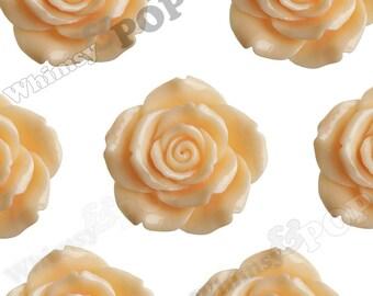 2 - Huge Detailed Pale Sorbet Orange Rose Cabochons, Flower Cabochons, Chunky Flower Cabochons, Large Rose Cabochons, 44mm x 15mm (R5-045)