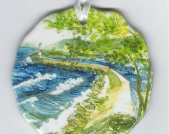 Marquette MI. Lower Harbor Breakwall Christmas ornament