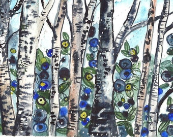 Blueberries and Birch Trees Print Marquette,Mi.