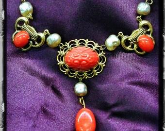 Vintage Art Nouveau Molded Art Glass Coral Floral Cab Gilded Brass Festoon Necklace