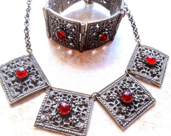 Amazing Antique Byzantine Belgium Cast Bronze & Ruby Red Garnet Art Glass Cabochon Pin Hinge Barbaric Necklace, Bracelet Parure Set