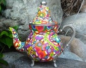 RESERVED for Maribeth - Decorative Clay Mosaic Teapot