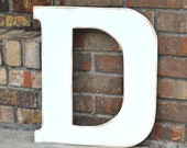 "18"" Wooden Letter D, Classic Font in Distressed White - all letters available in many colors"