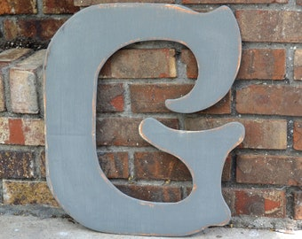 """18"""" Wooden Letter G, Alternative Wedding Guestbook, Elegant Font in Distressed Gray - all letters available in many colors"""