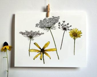 Meadow Flowers Drawing Card