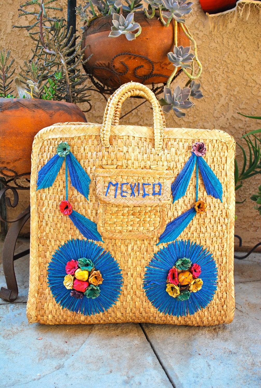 Woven Handmade Straw Mexico Souvenir Bag Beach Tote Lap Top