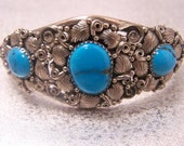 Vintage Turquoise and Silver Cuff Bracelet Estate Jewelry BR5314