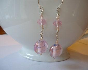 Pink Lampwork and Czech Glass Earrings
