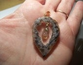 Brazilian Teardrop Handmade Sparkling Drusy Agate Pendant With Citrine Crystal Point Dangle Healing Energy