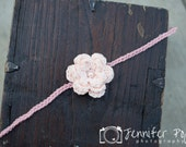 Whimsical Crochet Off white and Pink Flower Headband with pearl center.  Ready to Ship