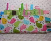"Spring Birds 10"" Crinkle Crackle Ribbon Sensory Minky Toy"