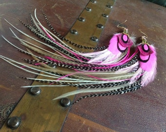 Long Full Feather Earrings - Pixie Queen - Feather Jewelry, Bright Pink and Grizzly Statement Earrings