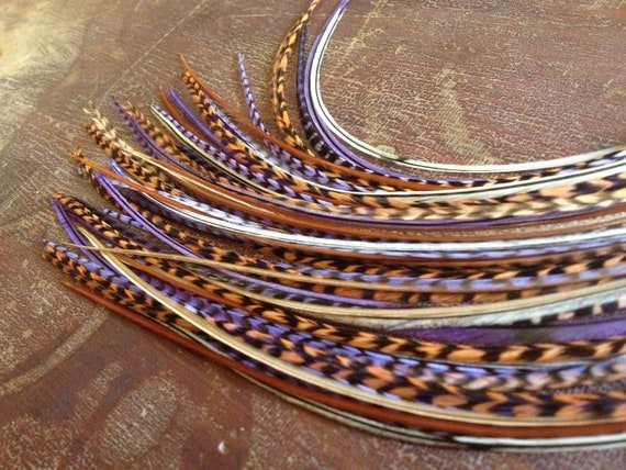 Feather Hair Extensions 1 Bundle of 7 Bonded Hair Feathers Purple Plum Peach Grizzly Natural Blend 8-11 inch Long Feather Extensions Pastel