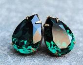 Emerald Green Large Bridal Earrings Swarovski Crystal Emerald Earrings Bridal Jewelry Clip on Stud Earrings