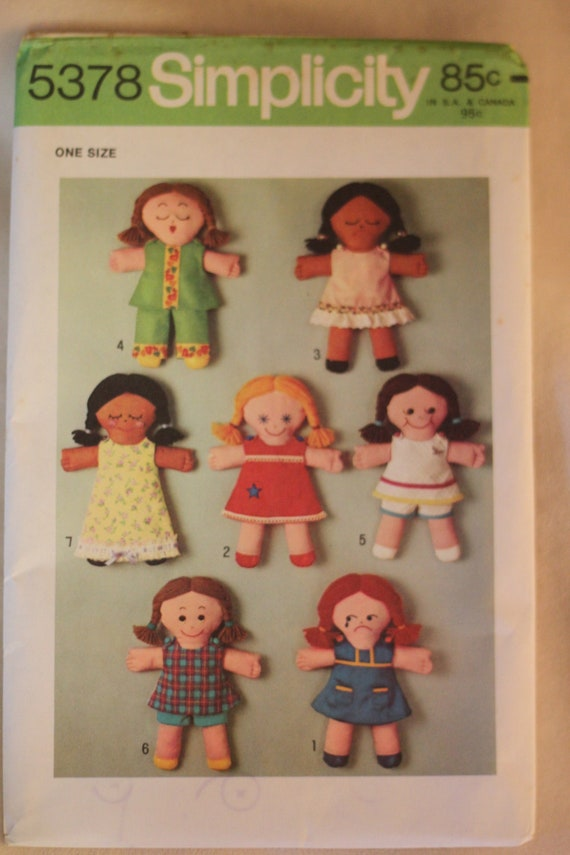 vintage stuffed rag doll pattern with 6 outfits--uncut