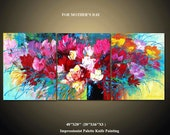 48'' Original Contemporary Flower Palette Knife Fine Art Painting Abstract Textured On Gallery Wrapped Canvas 48''x20''