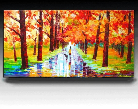 Landscape Painting, 48'' HUGE Original Deep Canvas Palette Knife Fine Art Painting Abstract  On Gallery Wrapped Canvas Ready To Hang