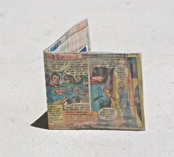 Justice League wallet recycled vintage dc comics bi-fold repurposed superheroes jla superman wonder woman black canary batman green lantern