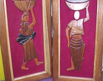 Wood Carved Vintage Painting  Rare exhotuic
