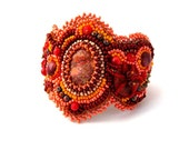 Bead Embroidered Bracelet, Beadwork jewelry, Seed bead bracelet cuff, Beaded jewellery, Orange brown bracelet