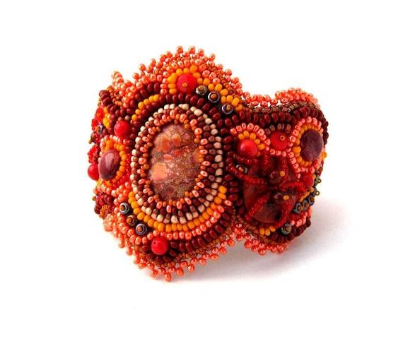 Bead Embroidered Bracelet, Beadwork jewelry, Seed bead bracelet cuff, Beaded jewellery, Orange brown bracelet