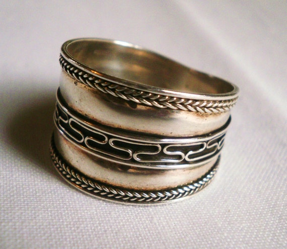 vintage sterling silver cigar band ring by antiquario on etsy
