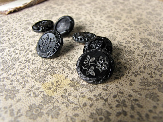 antique black glass buttons - Victorian heavy gothic - set of 6 unmatched