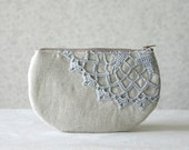 Linen and  vintage doily small clutch, zipper pouch, cosmetic bag