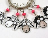 sheep stitch markers, whimsical set of 5, knitting accessory
