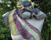 Abalone neck warmer scarf, hand spun merino yarn