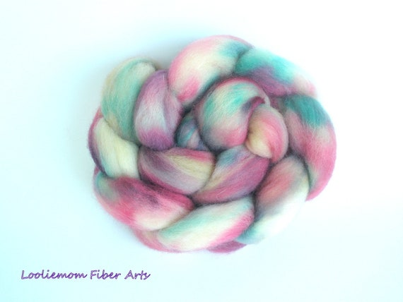 JET STREAM, hand dyed Corriedale Cross combed top, 4 ounces