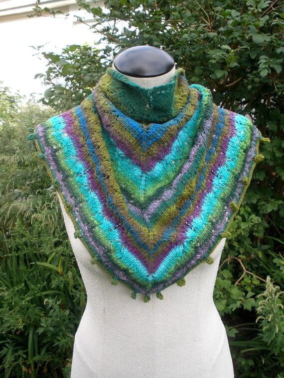 Beaded shawl, hand knit