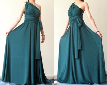 Bridesmaid Dress Full Length Infinity Dress Wrap Convertible Dress Green Evening Maxi Dress Jersey