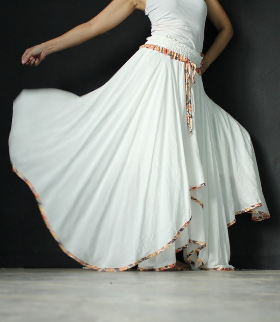 Circle Long Skirt Handmade Maxi Skirt White Women Skirt Party Full Skirt Flowing Double Layered