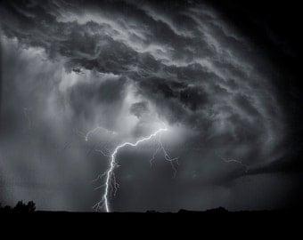 Black and white lightning fine art print
