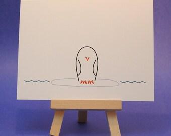 Penguin - Blank Note Card - Customizable