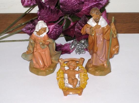 """1991 FONTANINI / Simonetti 5"""" Holy Family Nativity / Depose ITALY / 4 Pc. / Free US Shipping"""