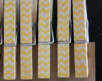 "Chevron Clothespins ""Mango"" - Set of 10 Handstamped Clothes Pins"
