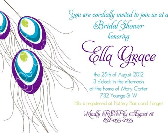 PEACOCK FEATHERS invitation - birthday, shower - YOU Print
