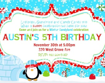 WINTER CANDYLAND invitation - red green and blue - YOU Print