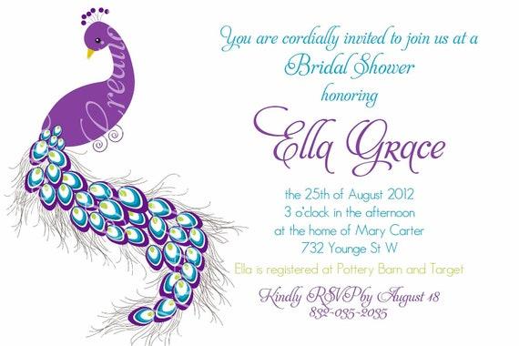 PRETTY PEACOCK invitation birthday bridal shower baby