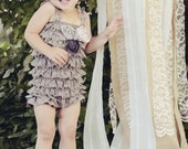 Baby Lace Petti Romper in Gray- Adorned with Pastel Flowers - Petti Romper - Romper - Photo prop - Girls Birthday Outfit - Girls Outfits