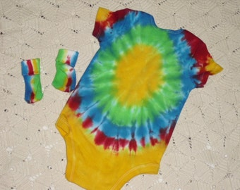 Tie dye 3-6 month bodysuit and socks - Cute as a button in yellow, green, blue, and red